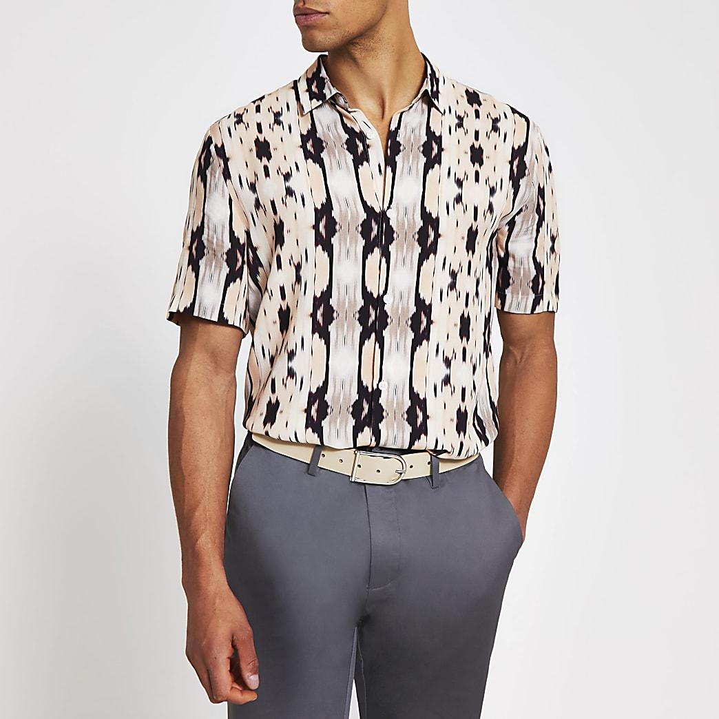 Roze slim-fit overhemd met abstractprint