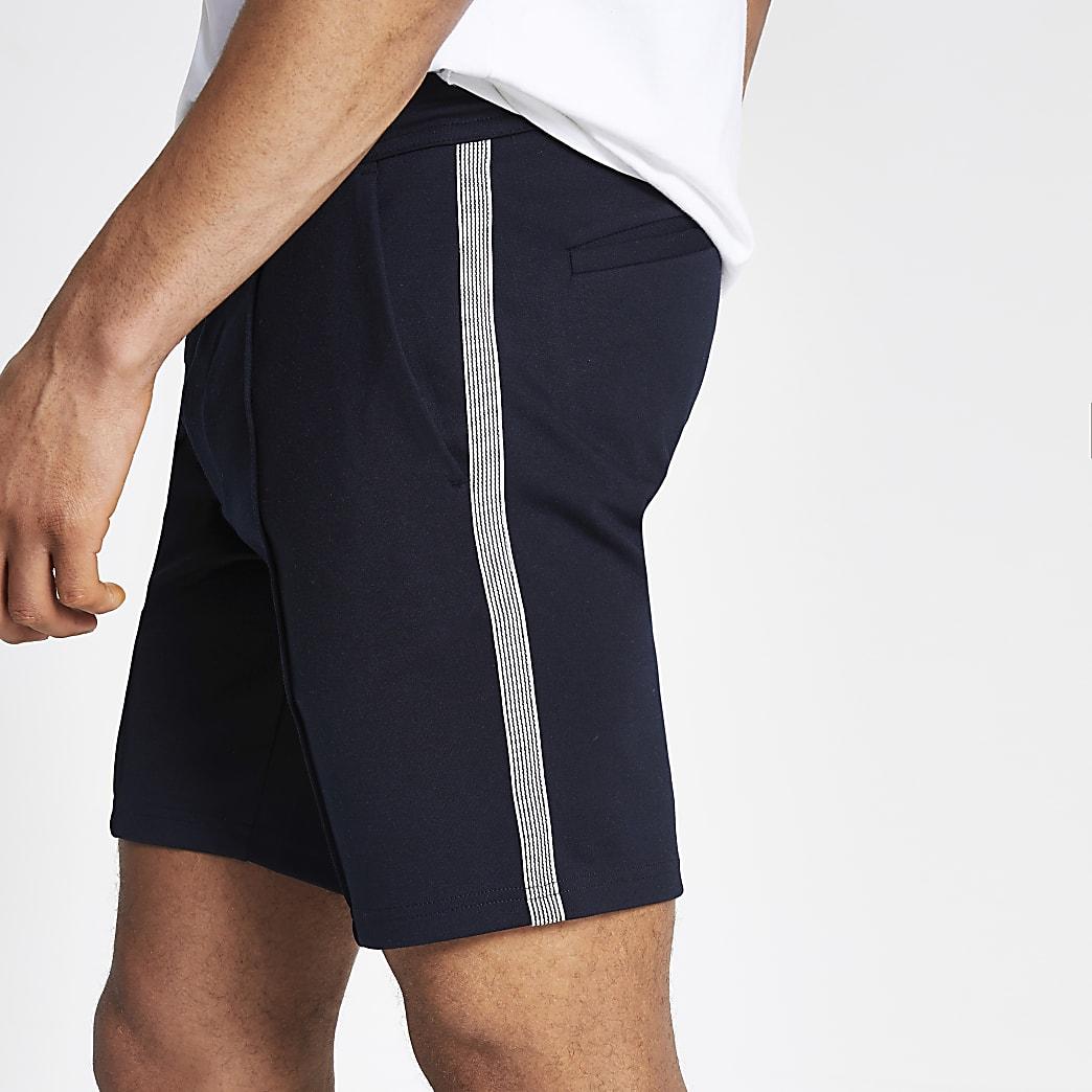 Navy Sid skinny tape side shorts