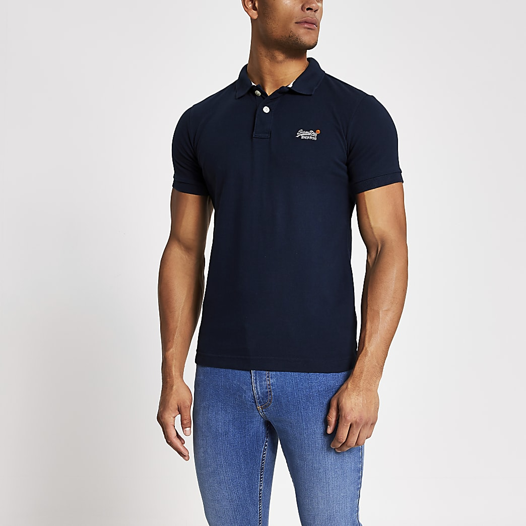Superdry navy classic pique polo shirt