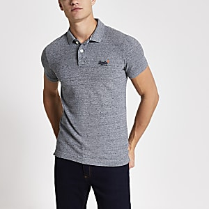 Superdry dark grey Classic Pique polo shirt