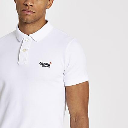 Superdry white Classic Pique polo shirt