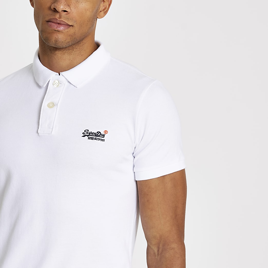 Superdry white Classic Pique polo shirt