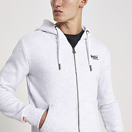 Superdry grey zip through hoodie