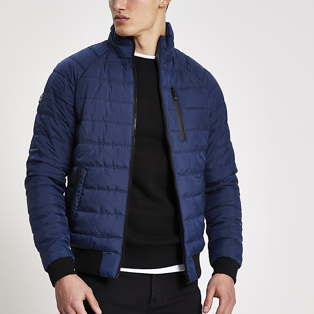 Superdry dark blue padded bomber jacket
