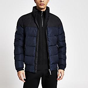 Superdry - Marineblauw gewatteerd jack met rits voor en kleurvlak