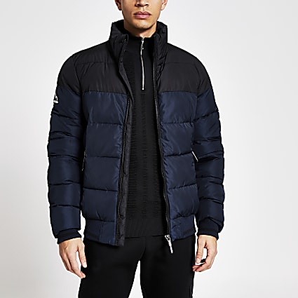 Superdry navy block zip front puffer jacket