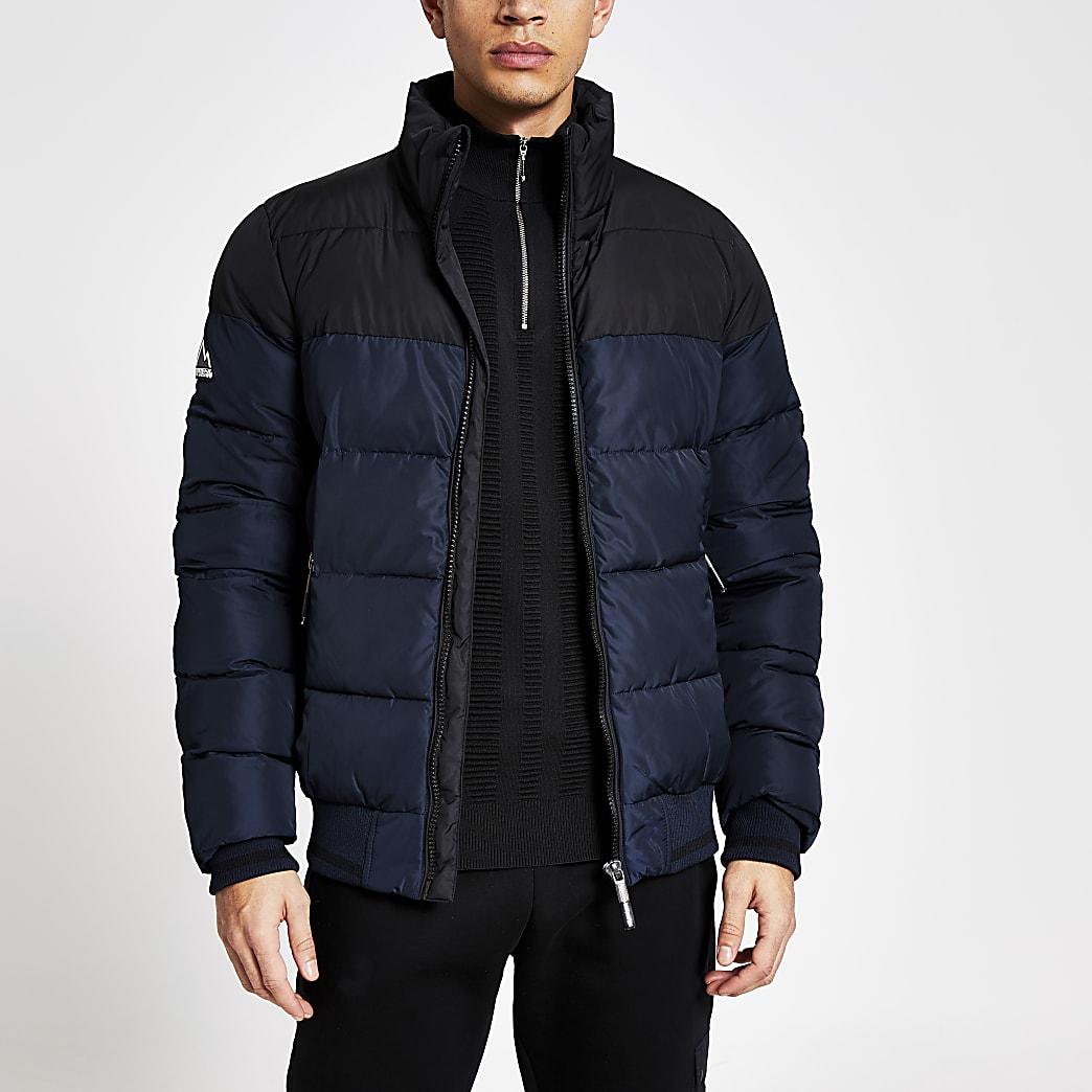 Superdry navy block zip front puffer jacket