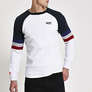 Superdry – Graues Sweatshirt in Blockfarben mit Raglanärmeln