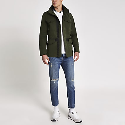 Superdry khaki high neck utility jacket