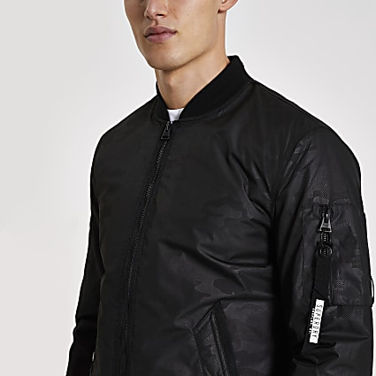 Superdry black camo jacquard jacket