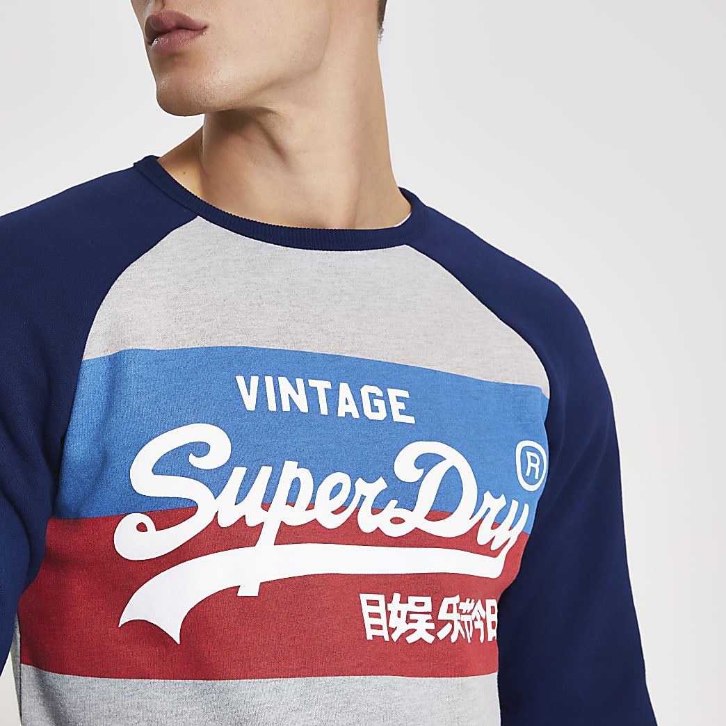 Superdry grey printed raglan sweatshirt