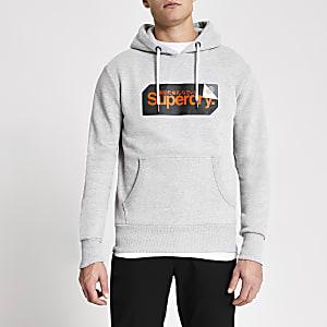 Superdry- Sweatà capuche grisavec logo imprimé