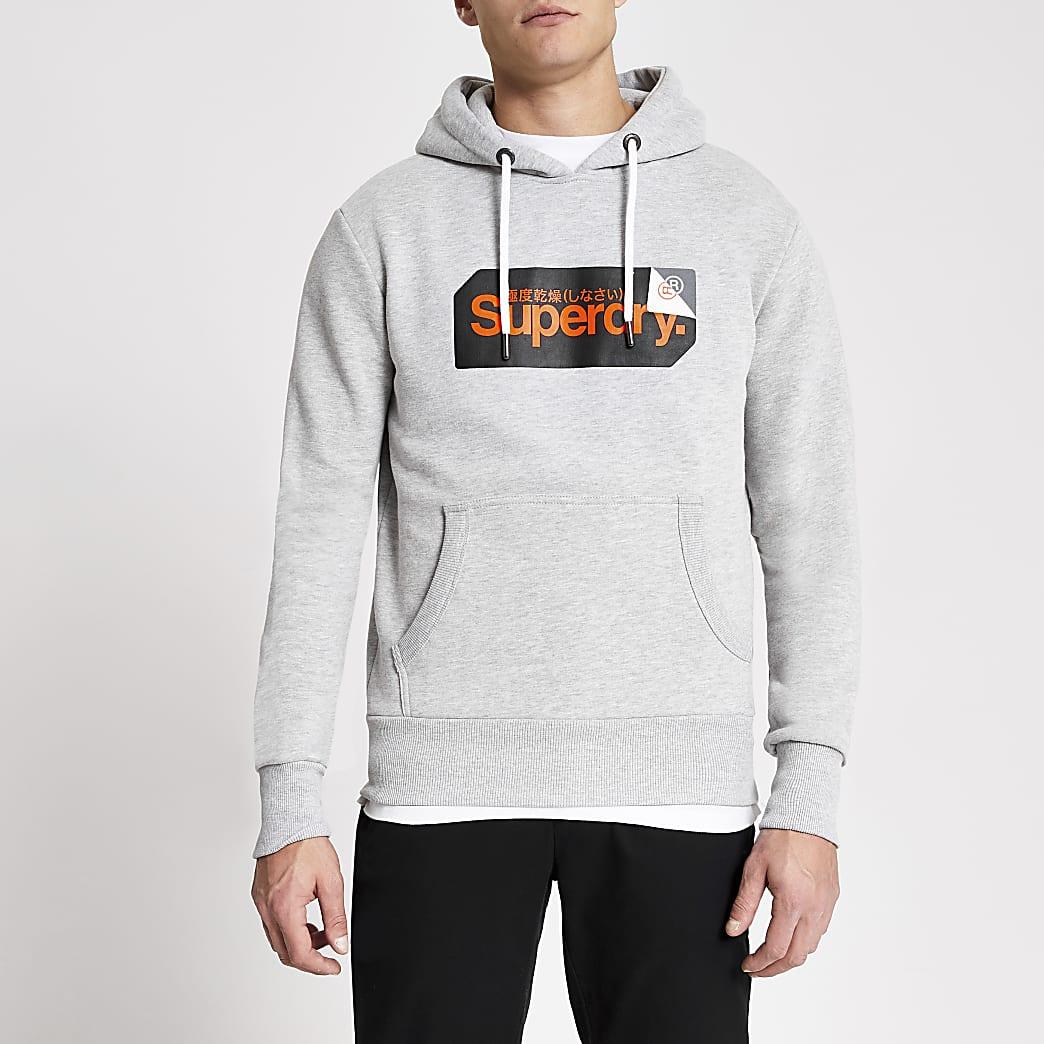 Superdry - Grijze hoodiemet logoprint