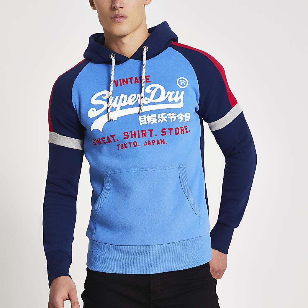 Superdry – Sweatà capuche imprimébleu colourblock