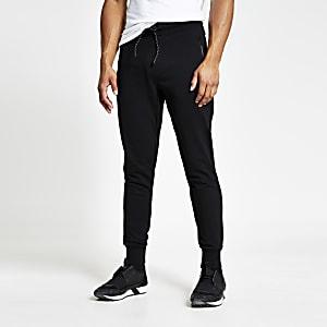 Superdry – Schwarze, umgeschlagene Jogginghose