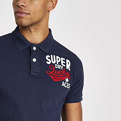 Superdry navy Superstate polo shirt