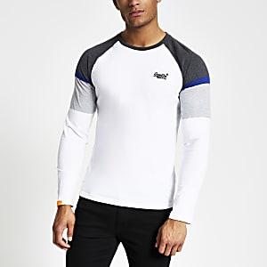 Superdry – Weißes, langärmliges T-Shirt