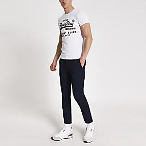 Superdry-T-shirt gris avec logo sur la poitrine