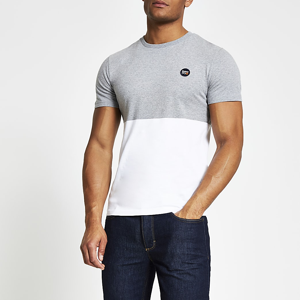 Superdry grey colour blocked T-shirt