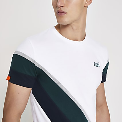 Superdry white colour blocked T-shirt