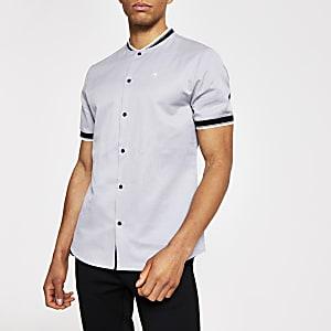 Kurzärmeliges Poloshirt in Grau mit Baseball-Kragen