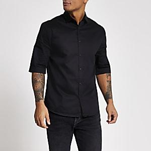 Zwart satijnen regular fit overhemd met korte mouwen