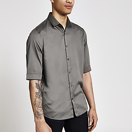 Khaki half sleeve regular fit satin shirt
