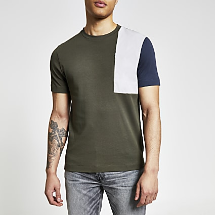 Khaki colour blocked regular fit T-shirt