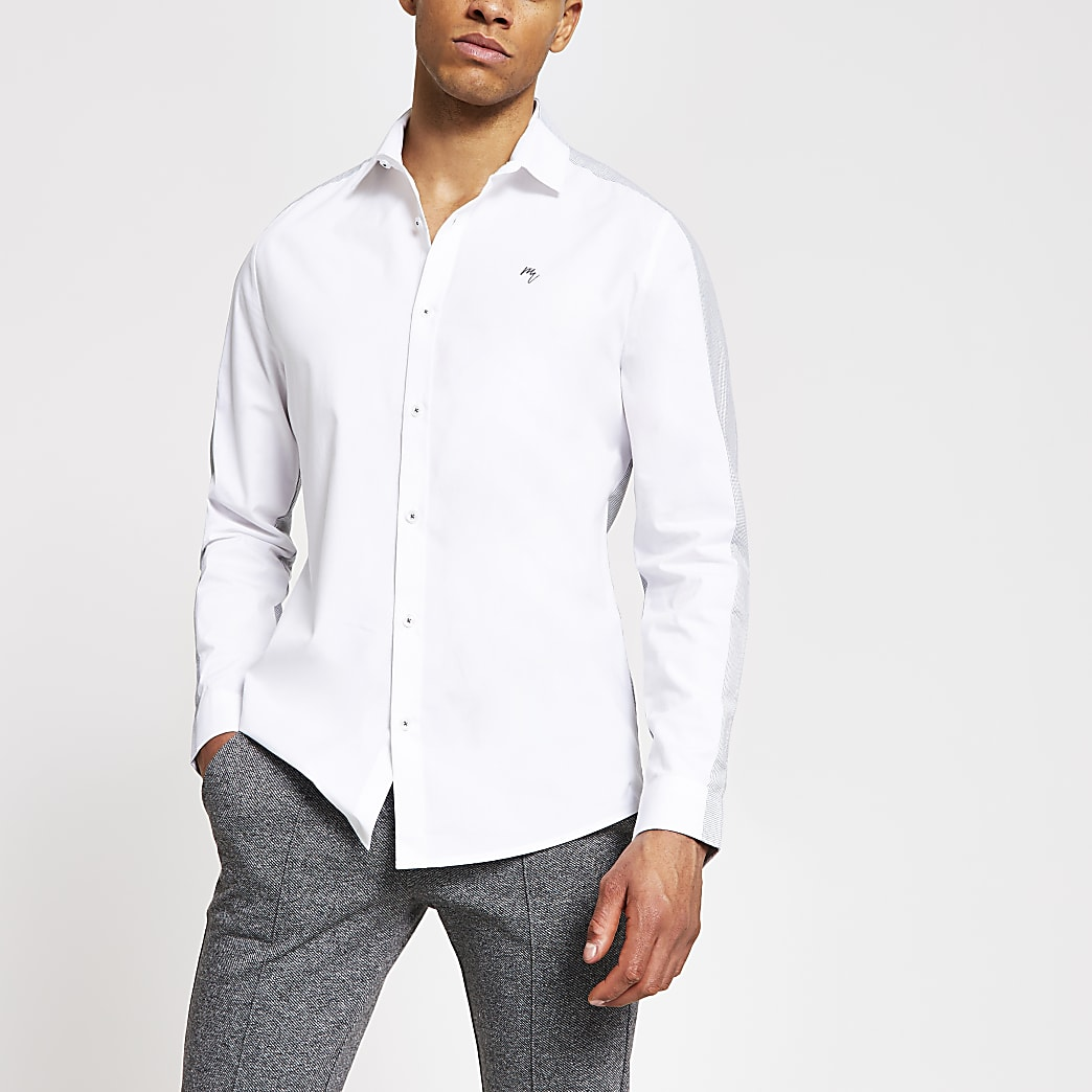 Maison Riviera – Weißes Slim Fit T-Shirt in Blockfarben