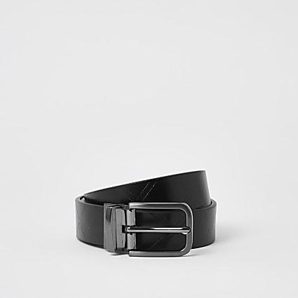 Black diamond emboss reversible belt