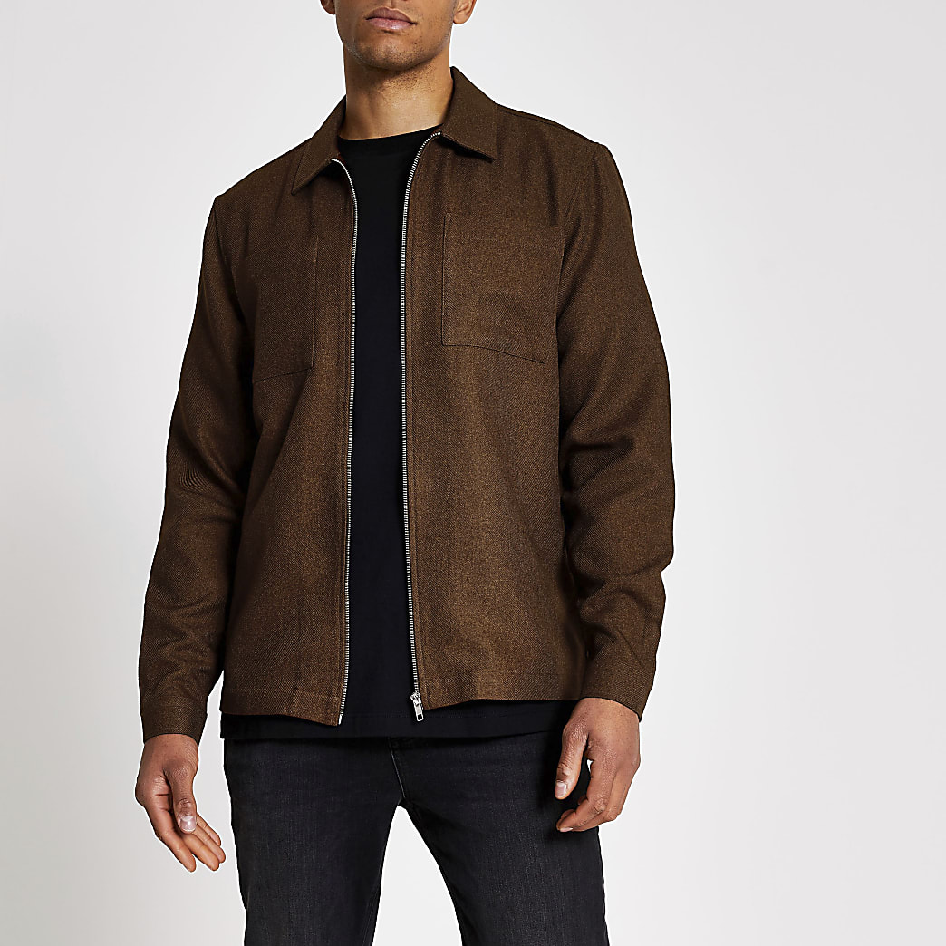 Rust textured zip through regular fit shirt