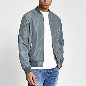 Blue long sleeve zip front bomber jacket