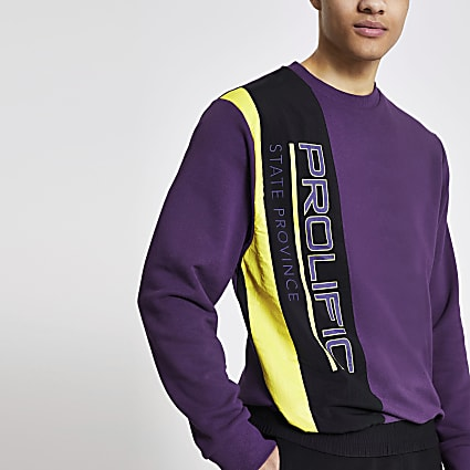Prolific purple nylon blocked sweatshirt