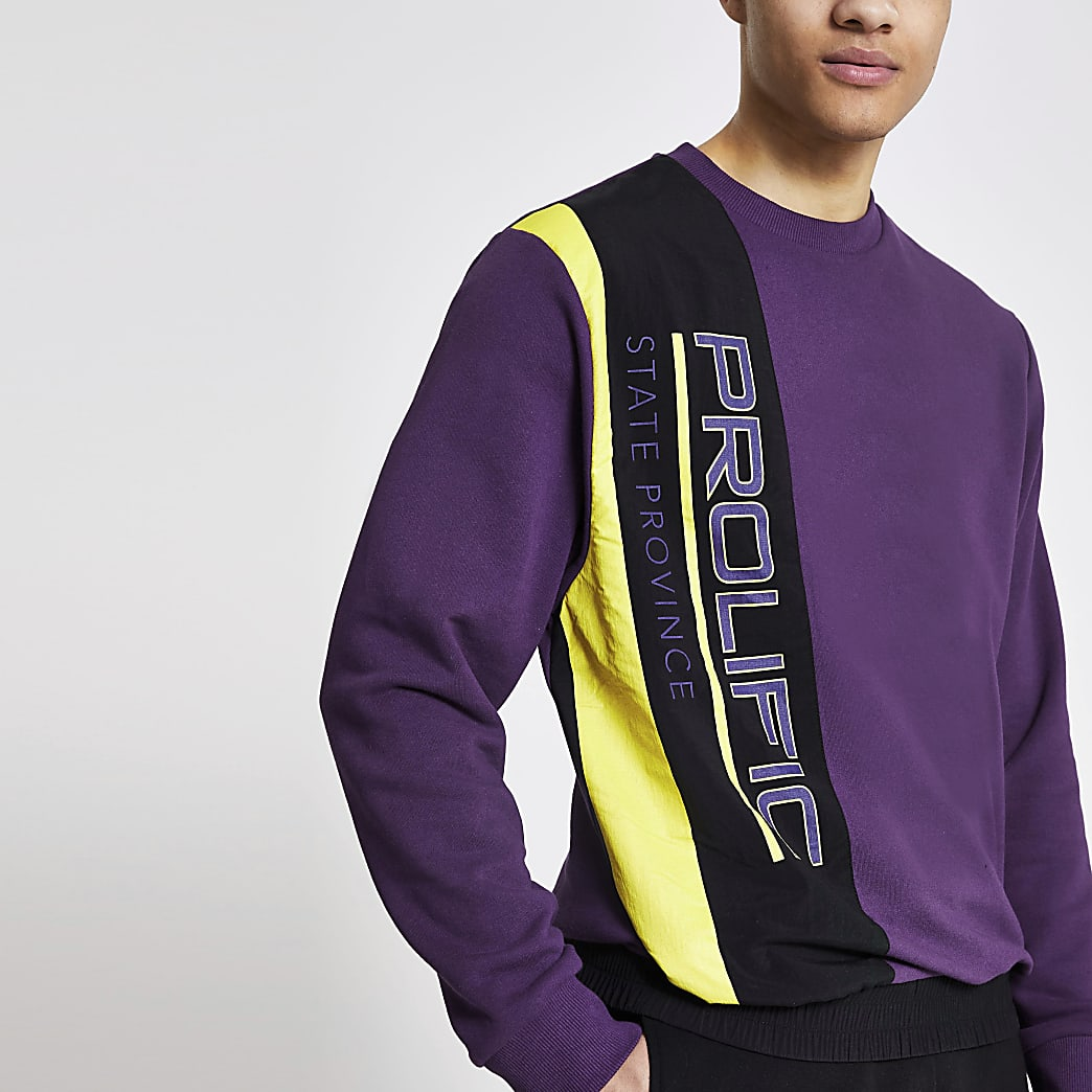 Prolific– Nylon-Sweatshirt mit Blockfarben in Lila