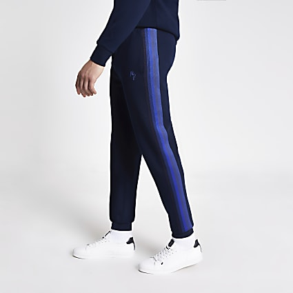 Maison Riviera blue tape slim fit joggers