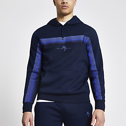 Maison Riveria navy tape slim fit hoodie