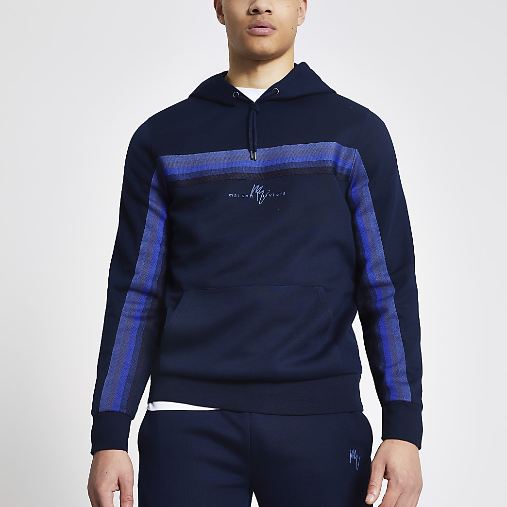 Maison Riveria navy tape slim fit hoodie
