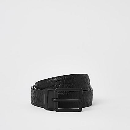 Grey RI embossed reversible belt