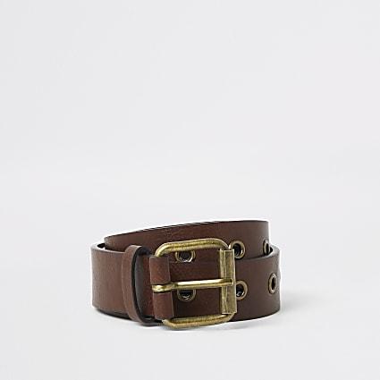 Brown eyelet buckle belt