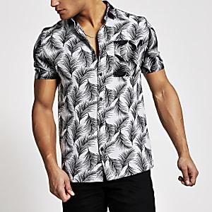 Zwart slim-fit overhemd met palmprint