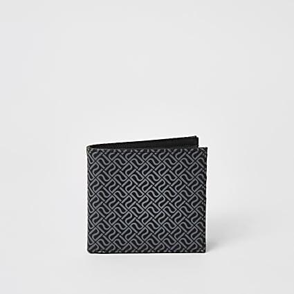 Black RI monogram fold out wallet