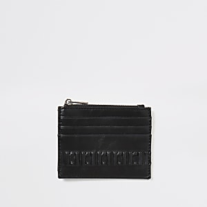 Zwarte portemonnee met kaarthouder en RI-print in reliëf