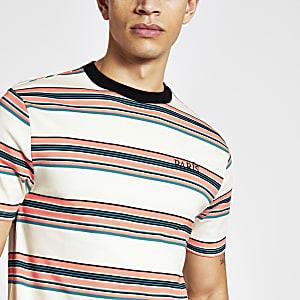 Ecru gestreept slim-fit T-shirt met 'Paris'-print