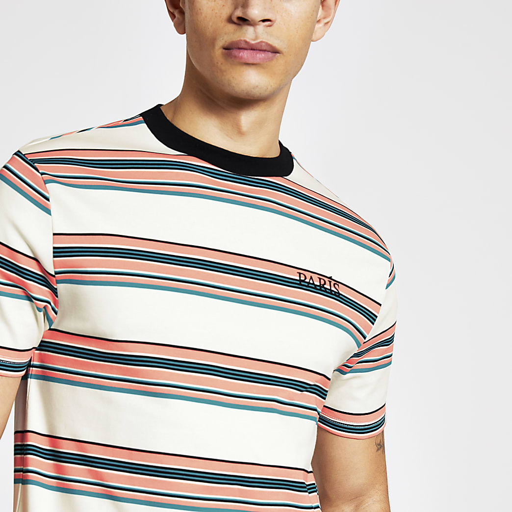 T-shirt slim « Paris » écruà rayures
