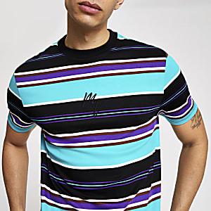 Maison Riviera - Aqua-blauw gestreept slim-fit T-shirt
