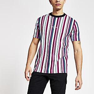 Maison Riviera - Roze gestreept slim-fit T-shirt