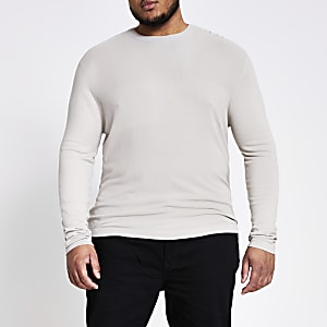 Big and Tall – Pull en maille slim grège