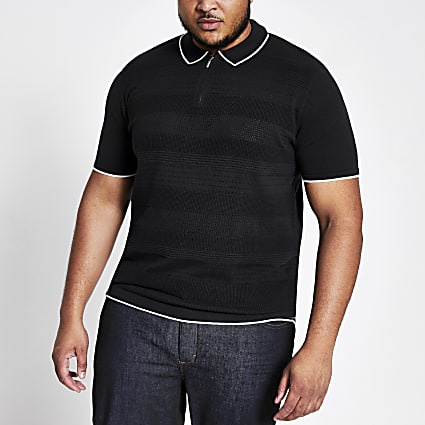 Big and Tall navy slim fit knit polo shirt