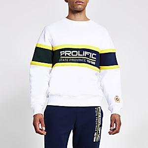 Prolific- Witte sweater met kleurvlakken