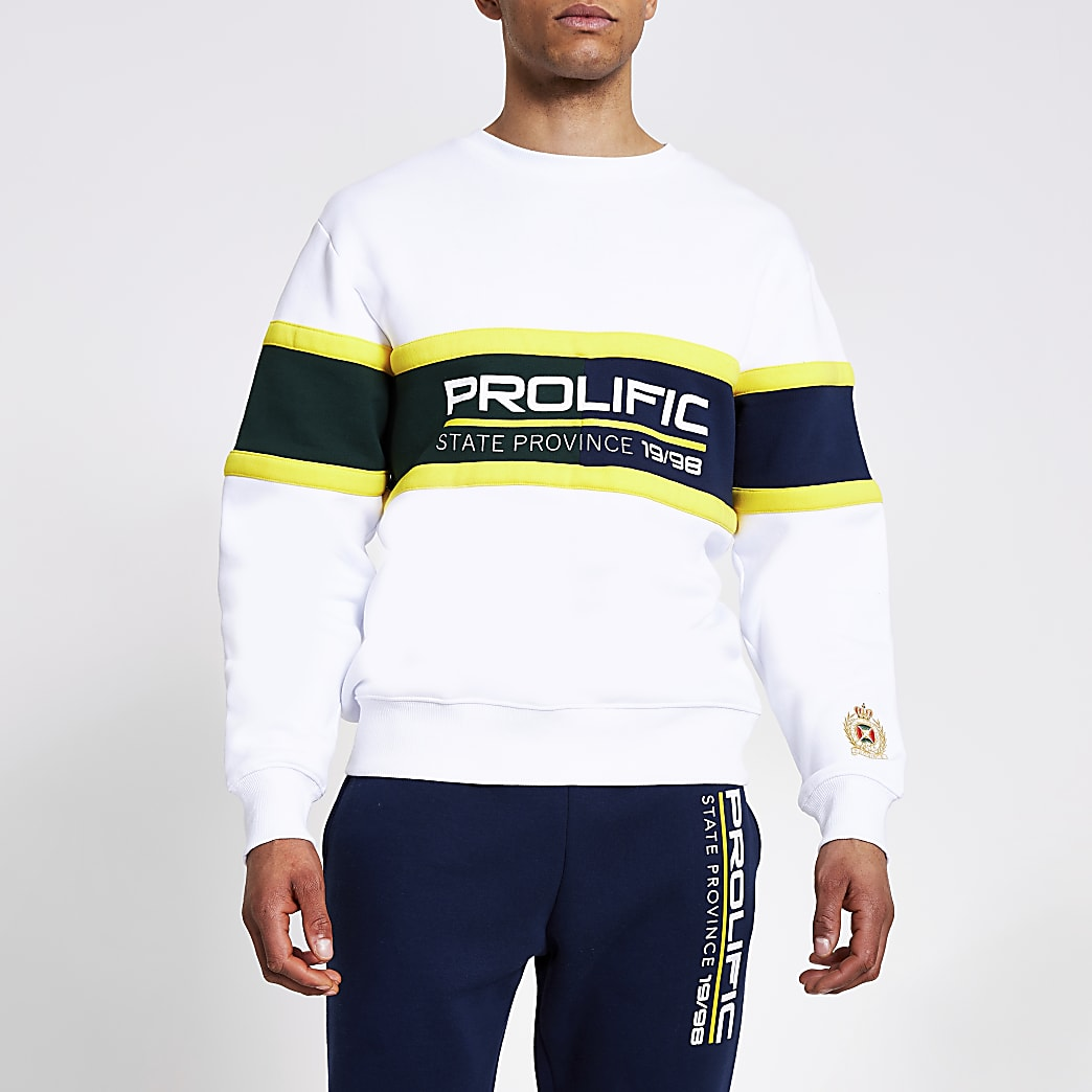 Prolific white colour blocked sweatshirt